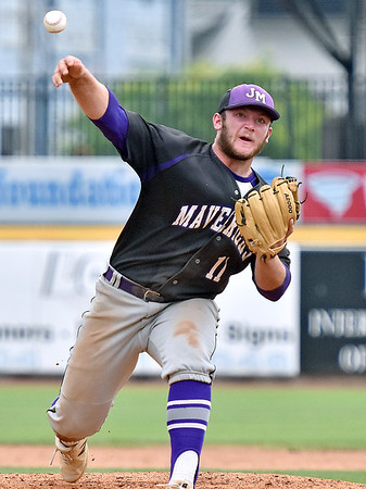 (Brad Davis/The Register-Herald) James Monroe starting pitcher Grant Mohler delivers against Bridgeport Friday afternoon at Appalachian Power Park in Charleston.