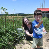 Magan Gonzalez, of Mount Nebo, watches her son Thomas Malone, 3, get excited after picking a small tomato in her community garden at New Roots Community Farm on 167 Wolf Creek Road in Fayetteville. The farm provides 22 rolls about fifty feet long each for the community to plant their own gardens. Each rolls are provided to community members for $20. a roll.<br /> (Rick Barbero/The Register-Herald)