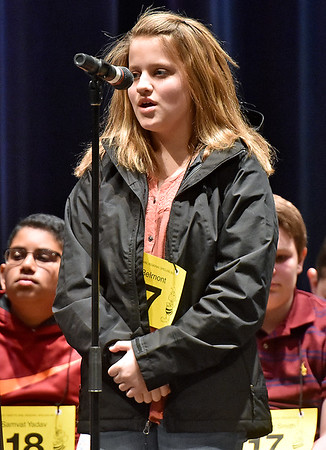 (Brad Davis/The Register-Herald) Nicholas County's Holly Belmont takes a turn during the 2017 Gazette-Mail Regional Spelling Bee Saturday afternoon at Capital High School in Charleston.