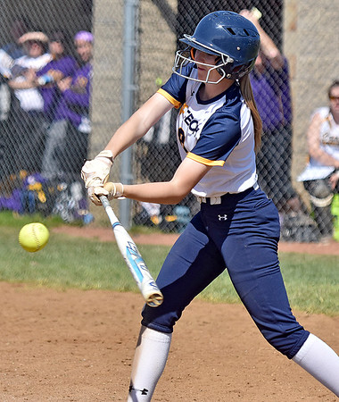 (Brad Davis/The Register-Herald) WVU Tech's Olivia Morey makes contact durng the 6th inning of the Golden Bears' game against Carlow University Saturday afternoon at Woodrow Wilson High School.