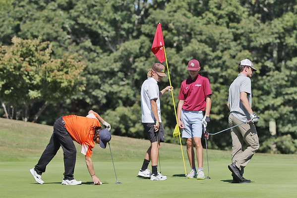 From left Summer's County's Michael Sprague, Richwood's Aiden Miller, Pocahontas County's Ben Dunz, James Monroe's John Sauvage compete in the Class A Region 3 golf tournament at Pipestem Resort State Park Monday. Jenny Harnish/The Register-Herald