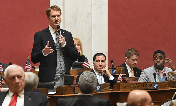 Stephen Baldwin, D-Greenbrir, speaks during the legislative session Wednesday afternoon at the State Capitol in Charleston.<br /> (Rick Barbero/The Registr-Herald)