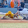 (Brad Davis/The Register-Herald) Miners baserunner Dalton Davis is tagged by Butler catcher Kellen Sarver as he tries to tag up and score off teammate DePaul Blunt's fly ball to right Wednesday night at Linda K. Epling Stadium.