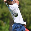 (Brad Davis/The Register-Herald) Kevin Na tees off during the Military Tribute at The Greenbrier Sunday afternoon in White Sulphur Springs.