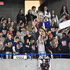 (Brad Davis/The Register-Herald) A rowdy Indy student section cheers on their classmates on the court against Oak Glen during State Volleyball Tournament action Friday morning at the Charleston Civic Center.