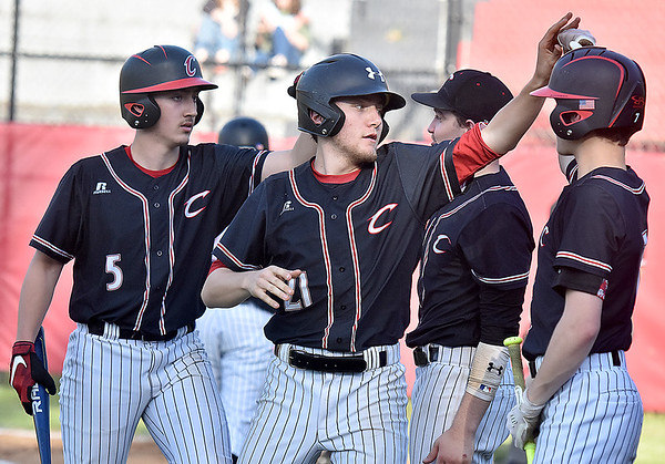 (Brad Davis/The Register-Herald) Greater Beckley Christian players celebrate a big inning against Mount View Wednesday evening at Park Middle School.