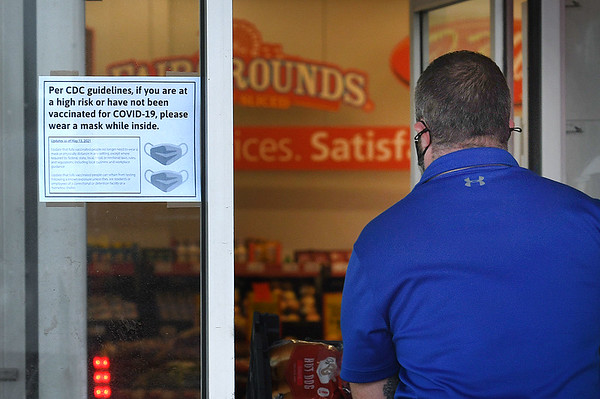 Customer enters Save A Lot grocery store at New River Town Center in Beckley.<br /> (Rick Barbero/The Register-Herald)
