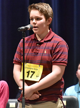 (Brad Davis/The Register-Herald) Fayette County's Christopher Smith takes a turn during the 2017 Gazette-Mail Regional Spelling Bee Saturday afternoon at Capital High School in Charleston.