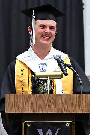 Thomas Toler gives his valedictorian speech at Westside High School.<br /> Jim Cook for the Register-Herald