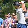 (Brad Davis/The Register-Herald) Kevin Na tees off on 9 during the Military Tribute at The Greenbrier Sunday afternoon in White Sulphur Springs.