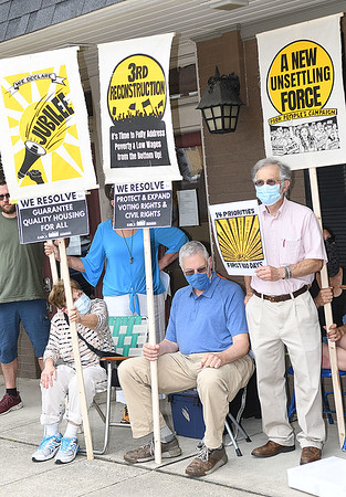 The West Virginia Poor People's Campaign held a rally at the office of Representative Carol Miller in Beckley to demand that she embrace and sign onto the Third Reconstruction resolution to end poverty and low wages in the US. The event is part of a national day of action at congressional offices around the country. <br /> (Rick Barbero/The Register-Herald)
