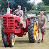 Joe Clay, from Alderson, parks his vintage tractor with friend Tom Skaggs for display at the State Fair of West Virginia Tuesday in Fairlea. Jenny Harnish/The Register-Herald