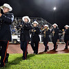 (Brad Davis/The Register-Herald) The Indy marching band takes the field for halftime Thursday night in Shady Spring.