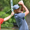 (Brad Davis/The Register-Herald) Tony Finau watches his tee shot on no. 11 during opening round action of the Military Tribute at The Greenbrier Thursday afternoon in White Sulphur Springs.