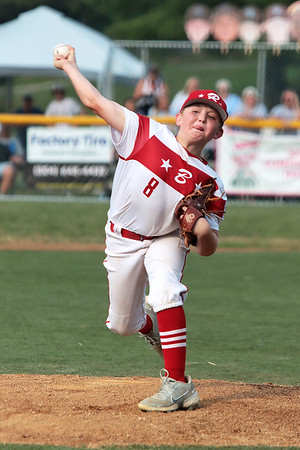 Barboursville's Jacob Courts pitches during the State Little League game against Beckley Tuesday in Lewisburg. Jenny Harnish/The Register-Herald