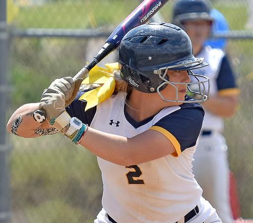 (Brad Davis/The Register-Herald) WVU Tech's MaKayla Waugh stands in for an at-bat against Cincinnati Christian Saturday afternoon at Woodrow Wilson High School.