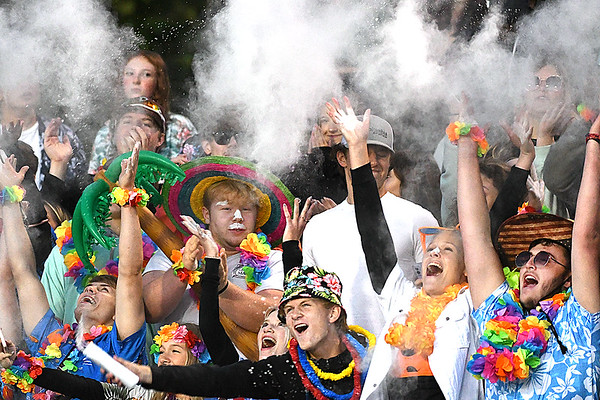 Woodrow Wilson student section cheering during game against Morgantown held at Woodrow Wilson High School.<br /> (Rick Barbero/The Register-Herald)