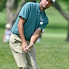 (Brad Davis/The Register-Herald) Bubba Watson chips onto the no. 11 green during the second round of the Military Tribute at The Greenbrier Thursday afternoon in White Sulphur Springs.