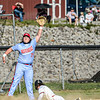 F. Brian Ferguson/Register-Herald  Independence third baseman Hunter Schoolcraft can't bring down a wild throw from home as Oak Hill's Zane Wolfe slides iin safely and scored on the throw during Wednesday evening action in Oak Hill.