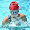 (Brad Davis/The Register-Herald) WV Pirhanas (Beckley) swimmer Savannah Hughes competes in a breast stroke heat race during the final day of the YMCA West Virginia Long Course Championships at New River Park Pool Sunday afternoon.
