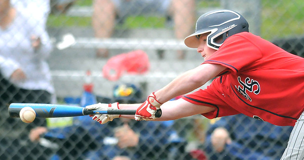 Independence's Tanner Sipes lays down a sacrifice bunt during a game against Shady. Jon C. Hancock/for The Register-Herald