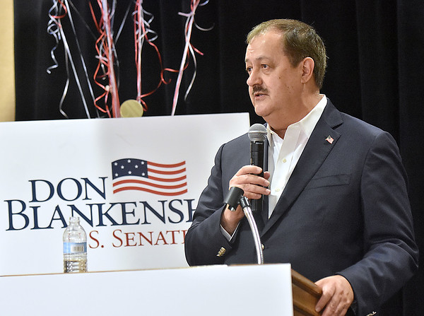 (Brad Davis/The Register-Herald) Republican U.S. Senate candidate Don Blankenship concedes during his results party Tuesday night at the Charlseton Marriott.