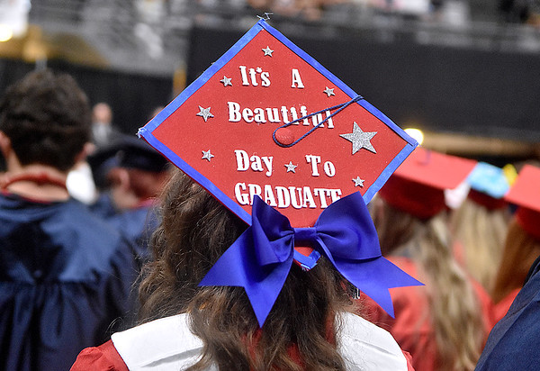 (Brad Davis/The Register-Herald) A pround Independence graduate's decorated cap Saturday morning at the Beckley-Raleigh County Convention Center.
