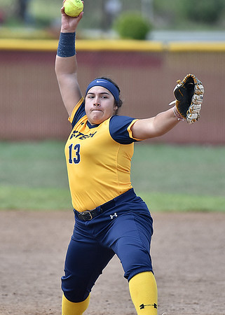 (Brad Davis/The Register-Herald) WVU Tech pitcher Karina Atanacio delivers against Ohio Christian during the second game of a doubleheader Friday afternoon at Woodrow Wilson High School.