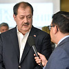 (Brad Davis/The Register-Herald) Republican U.S. Senate candidate Don Blankenship speaks with national media on hand during the early stages of his results party Tuesday night at the Charlseton Marriott.
