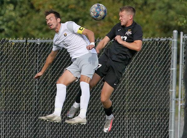 (Brad Davis/For The Register-Herald) WVU Tech's Ruben Martin Macias leaps for a header with Rio Grande's Callum Malanaphy Saturday afternoon at the YMCA Paul Cline Memorial Sports Complex.