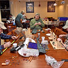 (Brad Davis/The Register-Herald) Veterans (from left) Charles Green, Steve Kemper and Glen Bailey build their fly rods during a Healing Waters meeting February 2 at the V.A. Medical Center in Beckley.