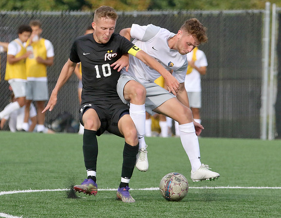 (Brad Davis/For The Register-Herald) WVU Tech's Edward Tordoff battles for possession with Rio Grande's Ewan McLauchlan Saturday afternoon at the YMCA Paul Cline Memorial Sports Complex.