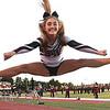 Woodrow Wilson cheerleader Mallory Daniels cheering during game againt Morgantown held at Woodrow Wilson High School.<br /> (Rick Barbero/The Register-Herald)