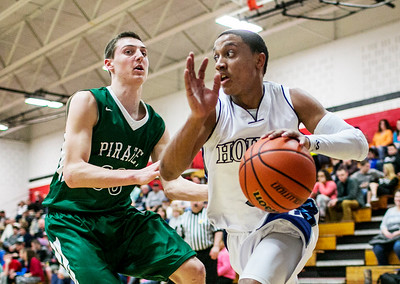 Chris Jackson/The Register-Herald Valley's (5) dribbles past Fayetteville's (30) during the second half of their basketball sectional Wednesday in Oak Hill.