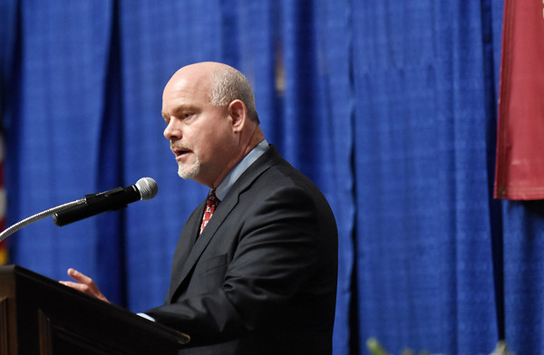 David Darden, who received the Outstanding Leadership, Dedication and Service in 2017, speaks during the 98th annual Beckley-Raleigh County Chamber of Commerce Annual Dinner at the convention center in Beckley Friday.(Chris Jackson/The Register-Herald)