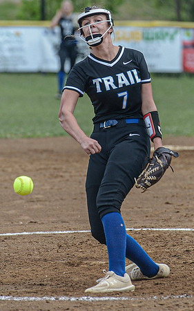 F. Brian Ferguson/Register-Herald  Midland Pitcher Emmie Lopetrone delievers against Richwood during Thursday action in Midland Trail.