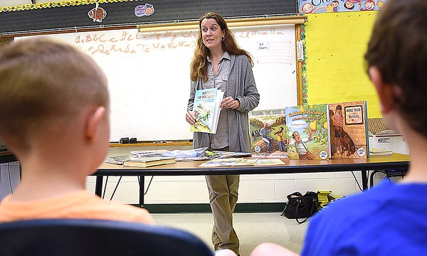 Audrey Stanton-Smith, local writer, spoke with students at Lester Elementary School during the schools Career Day. Total of ten vedors participated and students rotated every 10 minutes to hear them speak about their careers. (Rick Barbero/The Register-Herald)