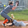 (Brad Davis/The Register-Herald) Shady Spring's Peyton Wiseman dives head first into third as the throw over gets past Richwood 3rd baseman Krista Merrill during the Tigers' win over the Lady Jacks Wednesday evening in Shady Spring.