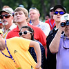 Spectators watch play from the 17th hole during the final round of The Greenbrier Classic.<br /> (Rick Barbero/The Register-Herald)