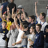 "(Brad Davis/The Register-Herald) Nicholas County students smell a victory as the signal ""one more point"" during the Grizzlies' first round State Volleyball Tournament win over Winfield Friday afternoon at the Charleston Civic Center."