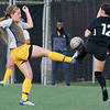 (Brad Davis/For The Register-Herald) WVU Tech's Jacinda Chapman battles for possession with Rio Grande's McKenna Sullivan Saturday afternoon at the YMCA Paul Cline Memorial Sports Complex.