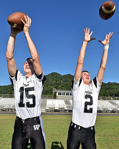 (Brad Davis/The Register-Herald) Westside receivers Jacob Ellis, left, and Isaiah Lester will play key roles as targets for quarterback Josh Morgan in 2016.