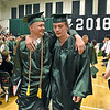 (Brad Davis/The Register-Herald) Graduating Wyoming East seniors make their way out of the gym and into the world after receiving their diplomas during the school's 2018 Commencement Ceremony Sunday afternoon in New Richmond.