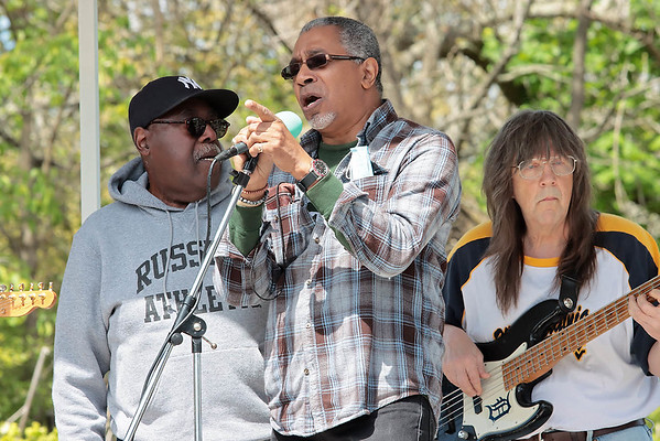 """The Carpenter Ants perform Bill Withers' """"Use Me"""" at the dedication of the new Bill Withers historical marker across from Stratton Elementary School in Beckley Saturday.  Jenny Harnish for the Register-Herald"""