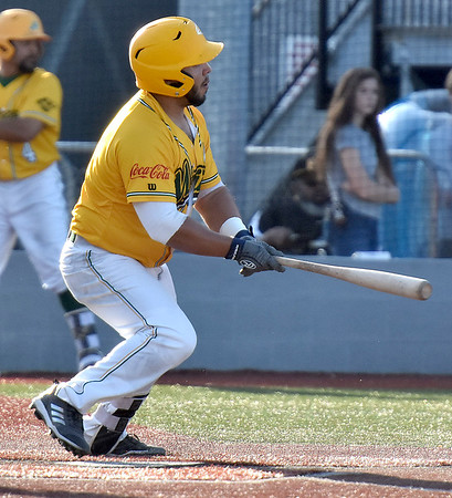 (Brad Davis/The Register-Herald) Miners hitter Jonathan Pasillas reaches base with a single during their win against Butler Wednesday night at Linda K. Epling Stadium.