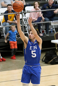 (Brad Davis/The Register-Herald) WVU commit Jordan McCabe shoots from three-point range against Mid-State Ford as he plays for Team EIN (Employers' Innovative Networks) in the Scott Brown Classic Saturday night at the Beckley-Raleigh County Convention Center.