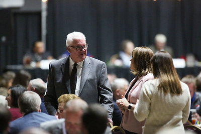 Beckley Mayor Rob Rappold speaks with people during the 32nd Annual Spirit of Beckley Awards Presentation at the Beckley-Raleigh County Convention Center in Beckley on Monday. (Chris Jackson/The Register-Herald)