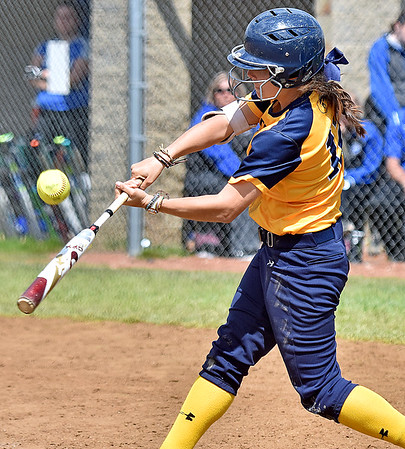 (Brad Davis/The Register-Herald) WVU Tech's Skylar Connelly makes contact and puts the ball in play against Ohio Christian during the second game of a doubleheader Friday afternoon at Woodrow Wilson High School.