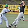 (Brad Davis/The Register-Herald) Marshall 1st baseman Peter Hutzall reaches to tag out Souther Miss baserunner Luke Reynolds after getting caught in a rundown between 1st and 2nd Thursday afternoon at Linda K. Epling Stadium.