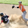 (Brad Davis/The Register-Herald) Summers County infielder Samuel Wykle forces out Greater Beckley Christian baserunner William Mullins at 2nd but wouldn't get the runner at first to complete a double play Friday evening at Park Middle School.